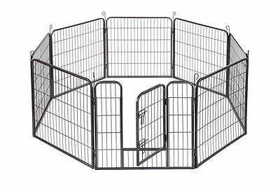 "48"" inch Dog Playpen Crate 8 Panel Fence Pet Play Pen Exercise Puppy Kennel Cage"