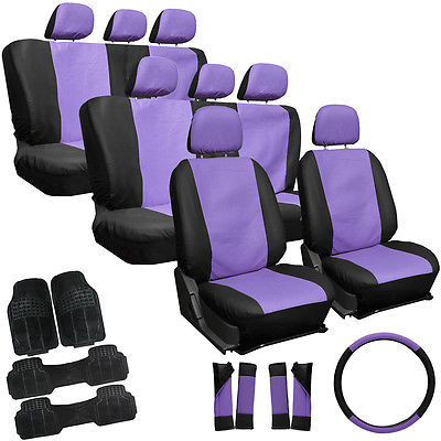 Car Accessories 29pc Set Faux Leather Purple Black SUV Seat Covers Bucket Bench Wheel Mats 3A