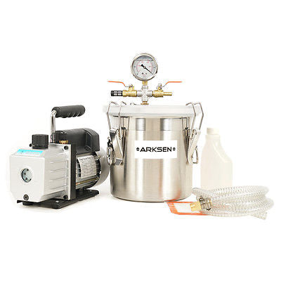 Vacuum Chamber (2 Gallon) Silicone Expoxy Degassing with 4CFM Vacuum Pump 1/3HP