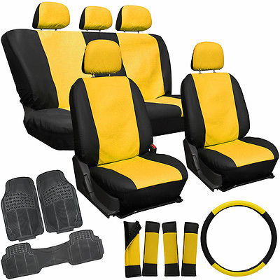Car Accessories 20pc PU Faux Leather Yellow Black TRUCK Seat Cover Set + HD Rubber Floor Mats 2D