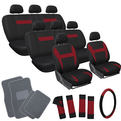 Car Accessories 25pc Set Red Black Auto VAN Seat Cover Wheel Pads Head Rest + Gray Floor Mat 4A