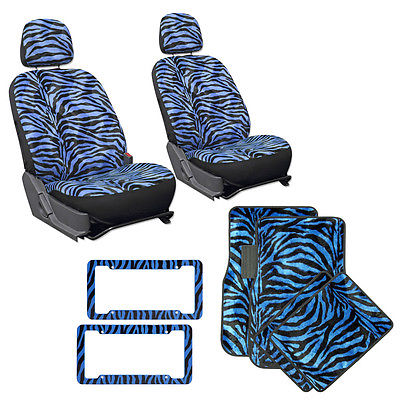 Car Accessories 12pc Low Back Blue Zebra Tiger Car Bucket Seat Covers Floor Mats License Frames