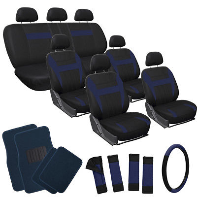Car Accessories 26pc Set Blue Auto SUV Seat Covers Wheel-Belts-Head + Navy Royal Blue Floor Mats