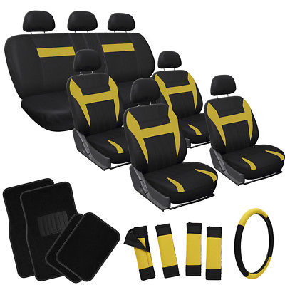 Car Accessories 26pc Complete Yellow Black SUV Auto Seat Cover Set Wheel + Belt Pads + Floor Mat