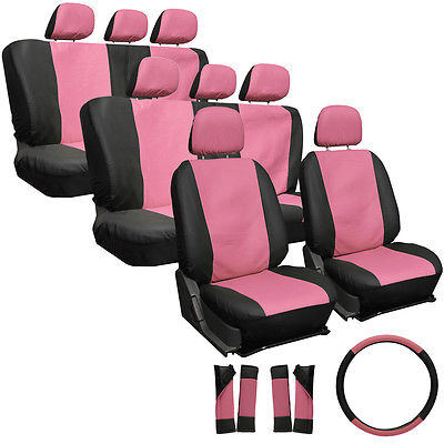 Car Accessories 25pc Set Faux Leather Pink Black SUV Seat Covers Bucket Bench Wheel Head Belt