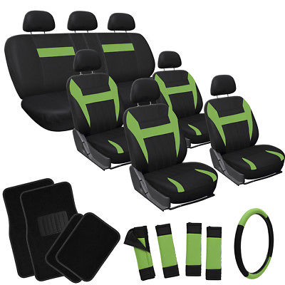 Car Accessories 26pc Complete Green Black SUV Auto Seat Cover Set Wheel + Belt Pads + Floor Mats
