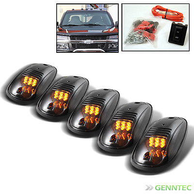 5Pcs Smoked Amber Rooftop Led Running Lights+Switch For Pickup Trailer Van New