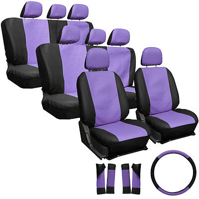 Car Accessories 25pc Set Faux Leather Purple Black SUV Seat Covers Bucket Bench Wheel Head Belt
