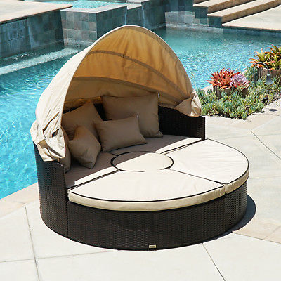 Outdoor Patio Sofa Furniture Round Retractable Canopy Daybed Brown Wicker Rattan
