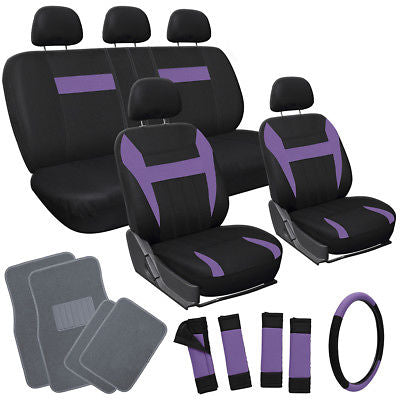 Car Accessories 21pc Set Purple Black Auto Car Seat Covers with Steering Wheel + Gray Floor Mats
