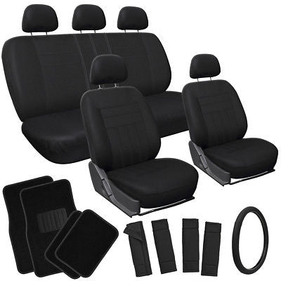 Car Accessories 21pc Full Set Solid Black Car Seat Cover Steer Wheel Pad+Head Rest+ Floor Mats