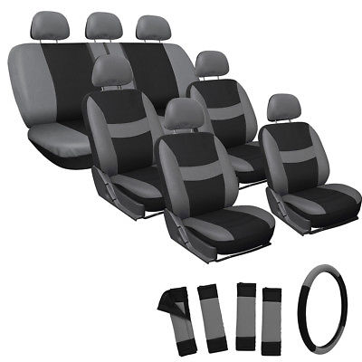 Car Accessories 23pc Full Set Gray Seat Covers For Auto Van Truck SUV W/Steering Wheel Head Rest