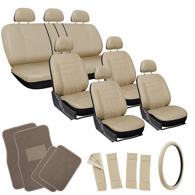 Car Accessories 26pc Complete All Tan Beige SUV Auto Seat Cover Set with Light Brown Floor Mats