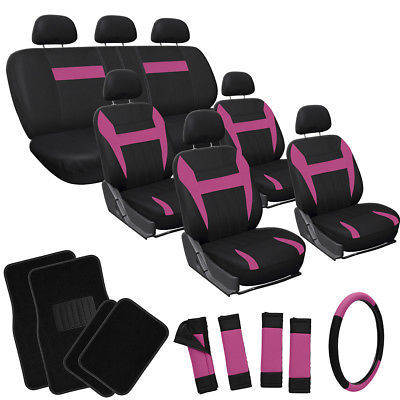 Car Accessories 26pc Complete Pink Black SUV Auto Car Seat Covers Set Wheel + Belts + Floor Mats