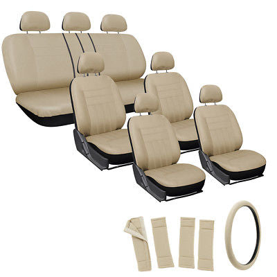 Car Accessories 24pc Full Set Solid Tan Beige SUV Seat Cover + Steering Wheel-Belt Pad-Head Rest