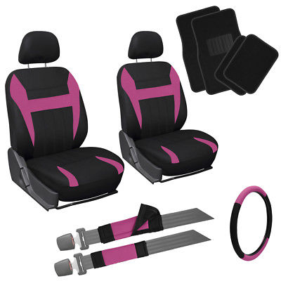Car Accessories 13pc Front Bucket SUV Seat Covers Set Pink Black Steer Wheel + Floor Mats 1C
