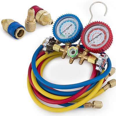 "Manifold Gauge Set R12 R22 R134A R502 HVAC A/C Refrigerant 1/4"" ACME Adapter 5FT"