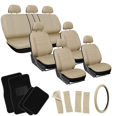 Car Accessories 26pc Complete All Tan Beige SUV Auto Seat Cover Set Wheel + Belt Pad + Floor Mat