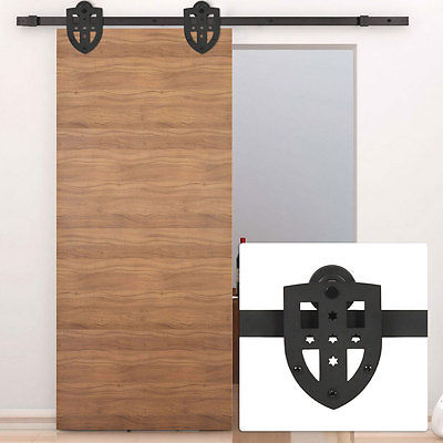 6ft Industrial Cross Style Sliding Barn Door Track Wheel Hardware Dark Coffee