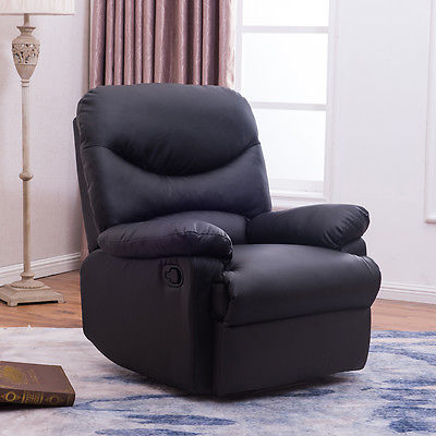 Recliner Black Plush Over Stuffed Bonded Faux Leather Comfy Chair Footrest Sofa