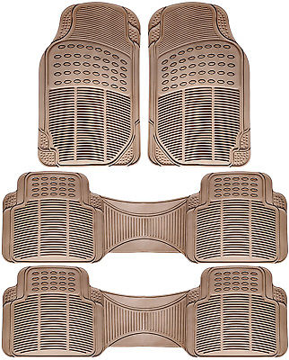 Car Accessories 4pc Set All Weather Heavy Duty Rubber Car Beige Floor Mat Front & Rear Liners 1A