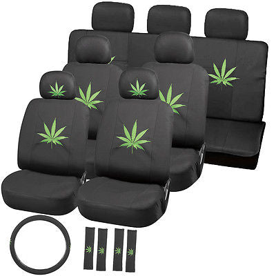 Car Accessories 23pc Green 420 Weed Marijuana Leaf Bucket Low Back Front VAN Seat Cover 4B