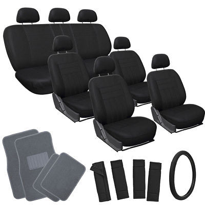Car Accessories 26pc Complete Solid All Black SUV Auto Seat Cover Set with Gray Carpet Floor Mat