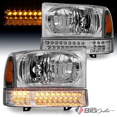 For 99-04 F-Series Super Duty, 00-04 Excursion Headlights w/ LED Signal Bumper