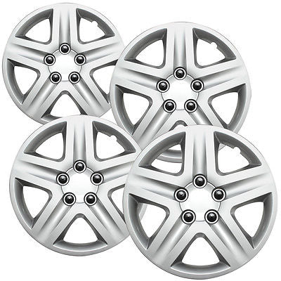 "Car Accessories 4 Pc Chevy Impala Steel Wheel Snap On SILVER 16"" Hub Caps 5 Spoke Fit Skin Cover"
