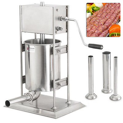 10L 23LB Dual Speed Industrial Vertical Sausage Stuffer Stainless Steel Hotdog