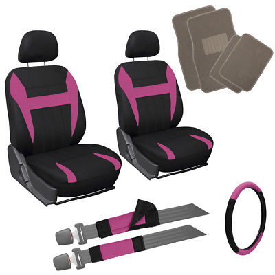 Car Accessories 13pc Pink Black Front Bucket SUV Seat Covers Set Beige Tan Carpet Floor Mats 1D