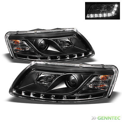 For 2005-2008 Audi A6 R8 DRL LED Projector Blk Headlights Head Lights Lamp Pair