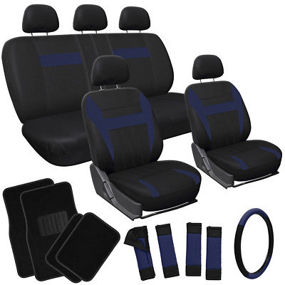 Car Accessories 20pc Set Blue Black SUV Seat Covers Wheel + Pads + Head Rests + Floor Mats 3D