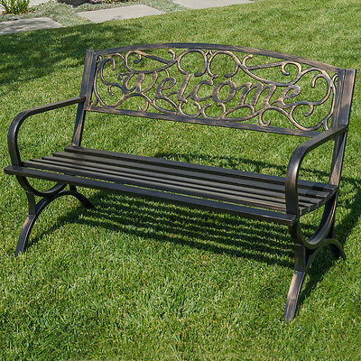 "50"" Welcome Decorative Patio Garden Outdoor Park Bench Seat Backyard, Bronze"