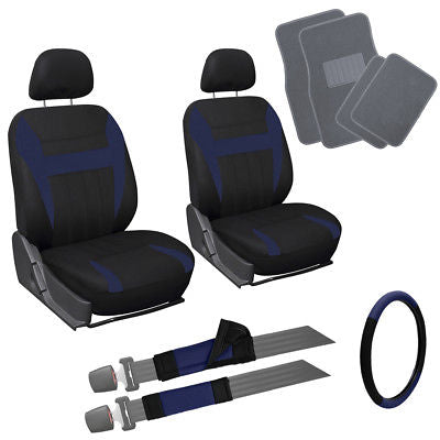 Car Accessories 13pc Blue Black Front Bucket Van Seat Covers Wheel + Pads + Gray Floor Mats 4A