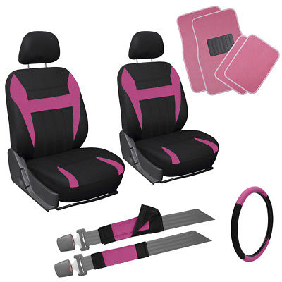 Car Accessories 13pc Pink Black Front Bucket SUV Seat Cover Set Wheel + Pads Carpet Floor Mat 3A