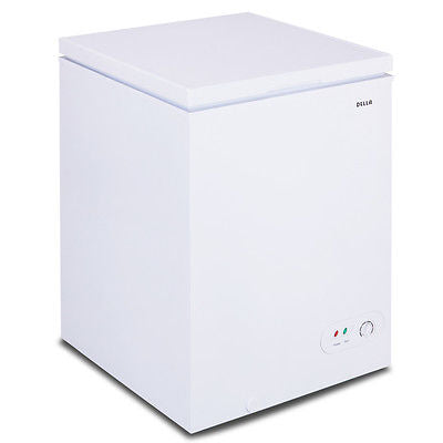 3.5 cu. ft. Adjustable Food Storage Basket Ice Maker Manual Chest Freezer, White