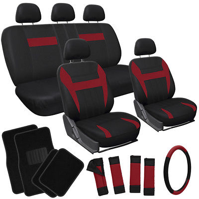 Car Accessories 21pc Set Red Black Auto Car Seat Covers + Steering Wheel Cover + Floor Mats