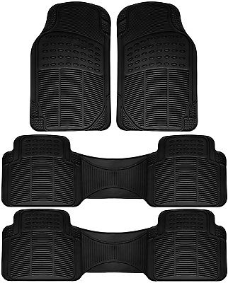 Car Accessories 4pc Set All Weather Heavy Duty Rubber Black Car Floor Mat Front & Rear Row 1C