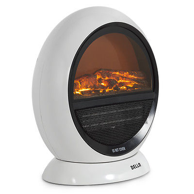 1500W Fireplace Indoor Electric Heater Portable Oscillating Stove Stand, White