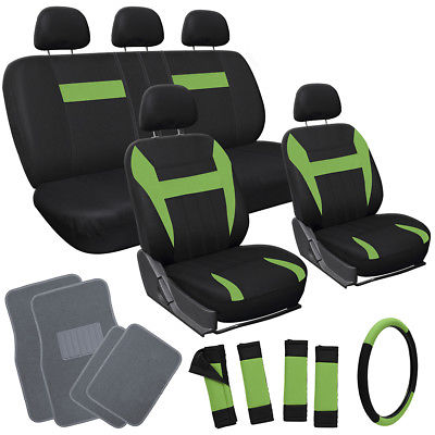 Car Accessories 20pc Set Green Black SUV Seat Covers Steering Wheel + Pad + Gray Floor Mats 3D
