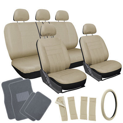Car Accessories 20pc Set All Beige Tan SUV Seat Cover Steering Wheel Cover + gray Floor Mats 3D