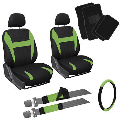 Car Accessories 13pc Front Bucket SUV Seat Covers Set Green Black Wheel + Belt + Floor Mats 1A