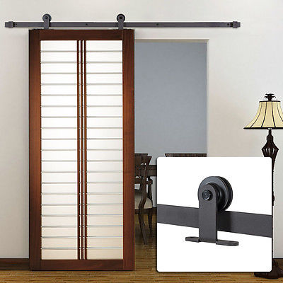6FT Black Modern Antique Style Sliding Barn Wood Door Hardware Only Closet Set
