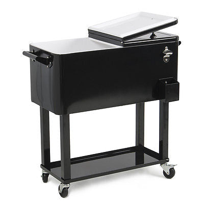 Portable Outdoor 80 Quart Rolling Patio Steel Party Cooler Cart Ice Chest, Black