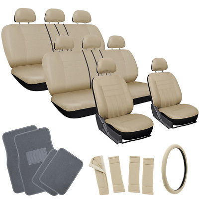 Car Accessories 25pc Set Beige Tan Black VAN Seat Cover Wheel Pads Head Rest + Gray Floor Mat 4D