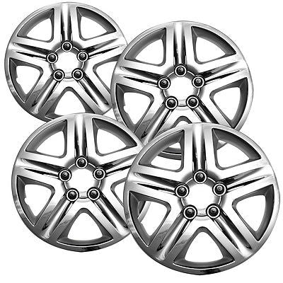 "Car Accessories 4 Pc Chevy Impala Steel Wheel Snap On CHROME 16"" Hub Caps 5 Spoke A/M Skin Cover"