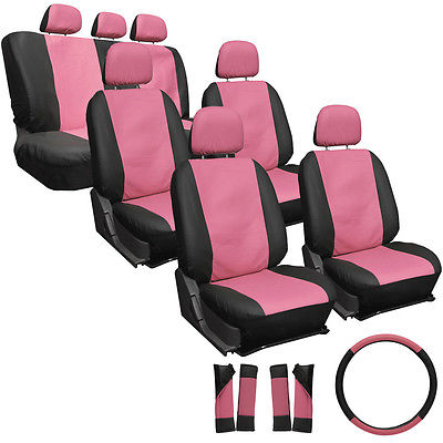 Car Accessories 23pc Set Faux Leather Pink Black SUV Seat Covers Buckets Bench Wheel Head Belt