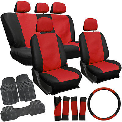 Car Accessories 20pc PU Faux Leather Red Black Seat Cover Set + Heavy Duty Rubber Floor Mat 1E