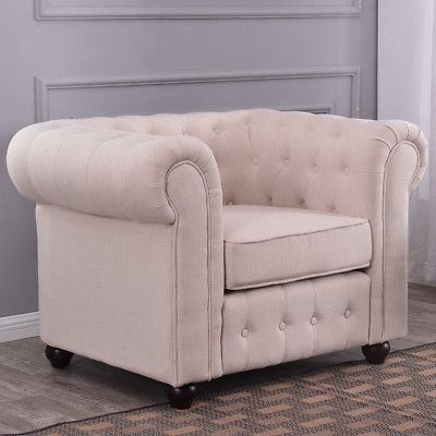 Beige Linen Tufted Scroll Arm Chair Elegance Living Room Padded Round Armrest